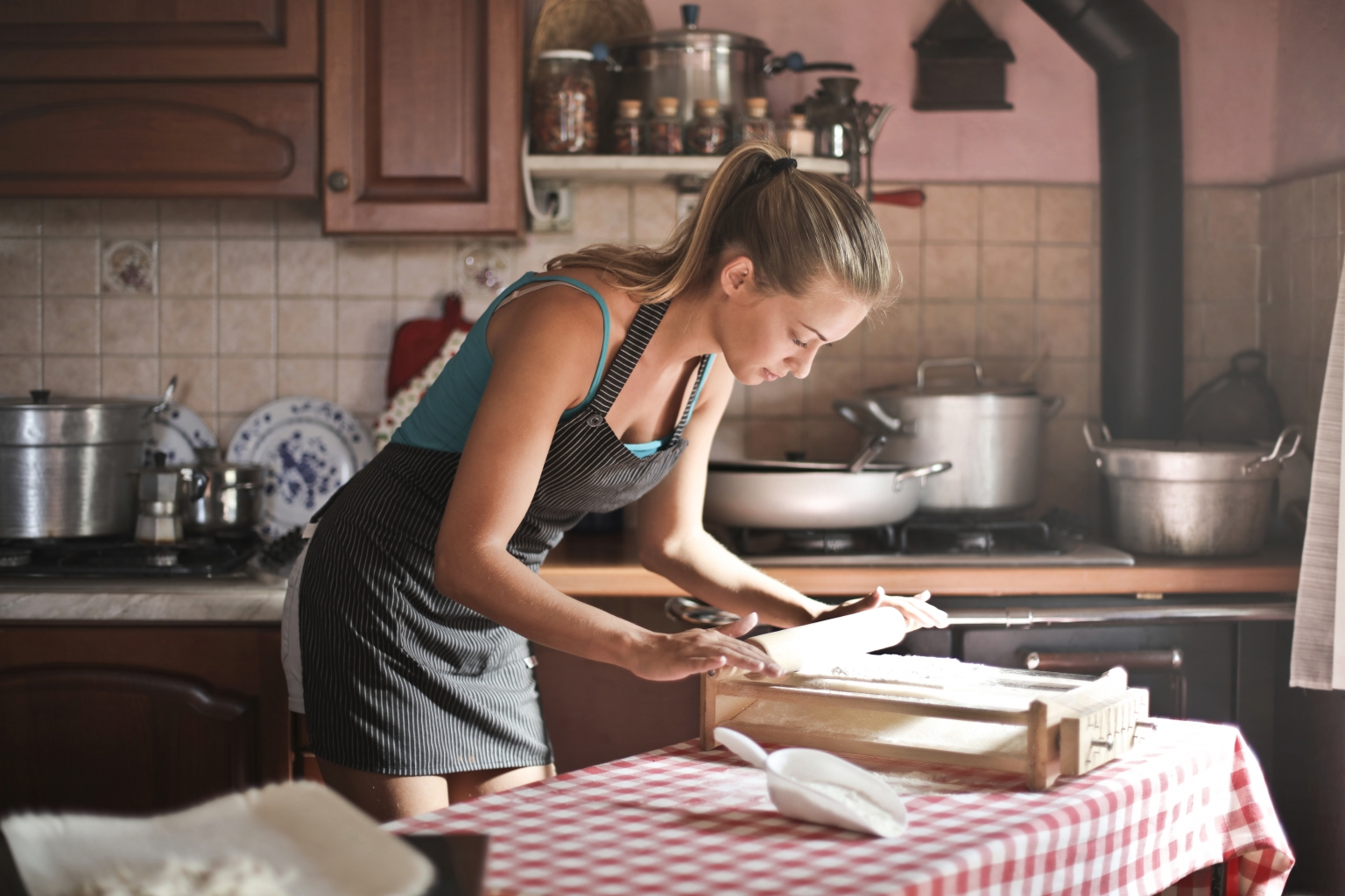 blonde lady cooking